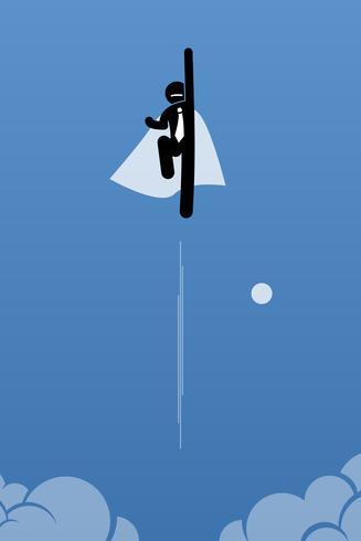 Zakenman met cape die omhoog aan de hemel vliegen. vector