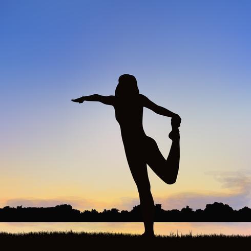 Lady silhouet afbeelding in de houding van Yoga. vector