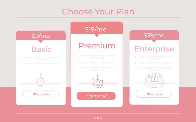 """""""Kies uw plan"""" Verschillende prijscategorieën vector"""