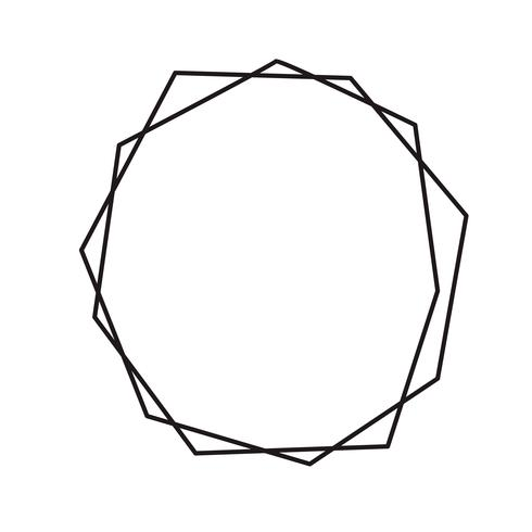 Zwarte inkt geometrische diamant met plaats voor tekst. Vector moderne ontwerpsjabloon voor bruiloft of verjaardagsuitnodiging, brochure, poster of visitekaartje