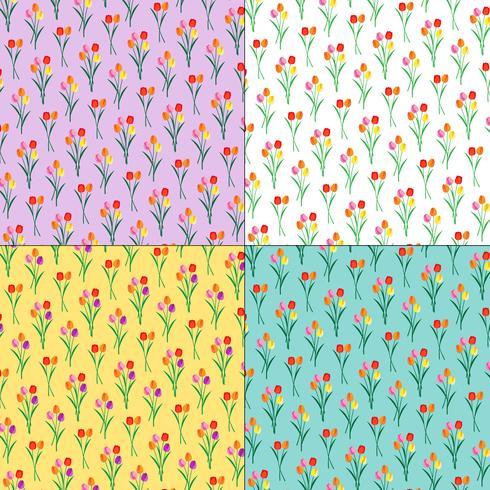 tulp boeketten bloemenpatronen op pastel achtergronden vector