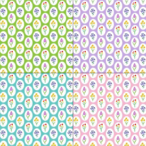 lente bloemenpatronen op kleurrijke achtergronden vector
