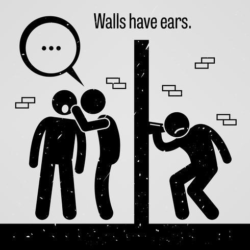 Muren hebben oren. vector