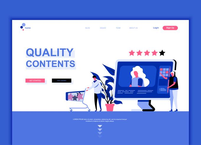 Moderne platte webpagina ontwerpsjabloon concept van kwaliteit inhoud vector