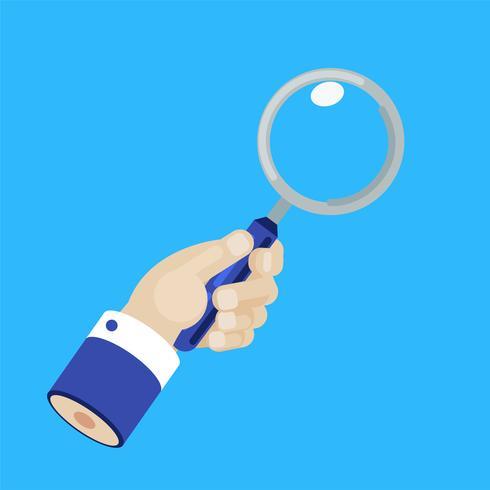 Hand van zakenman met vergrootglas. Marktonderzoek. Platte vectorillustratie vector