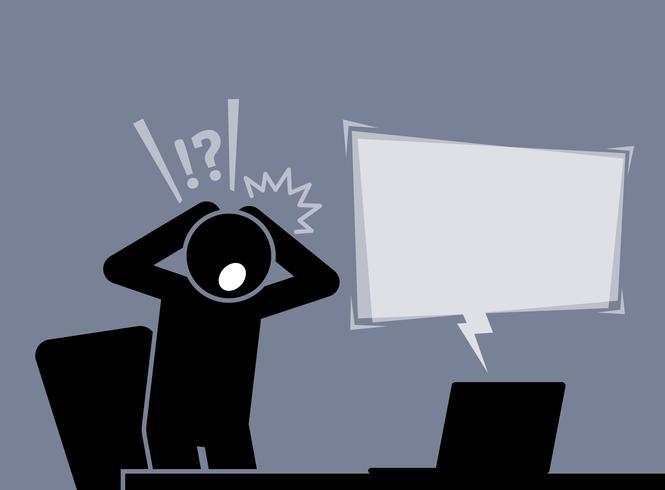 De mens voelt zich geschokt en verrast na het lezen van het nieuws van het internet. vector