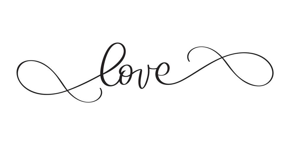 Ik hou van je briefkaart. Zin kalligrafie voor Valentijnsdag. Vector inktillustratie. Moderne borstelkalligrafie. Geïsoleerd op witte achtergrond