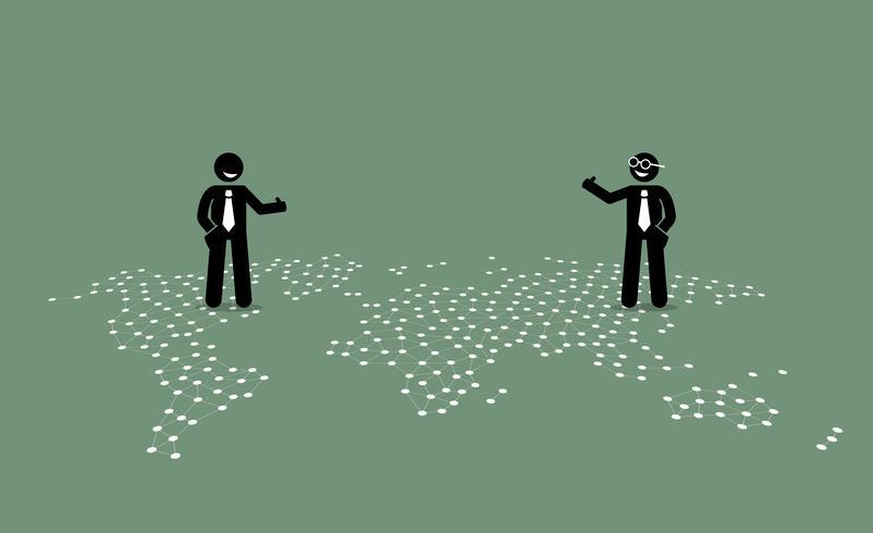 Zakenman twee van verschillende landen die duim geven aan elkaar bovenop een wereldkaart. vector