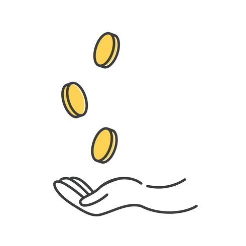 Verdien geld icoon. Gouden dollarmuntstuk met handenzakenman. Vector lijn kunst cartoon illustratie