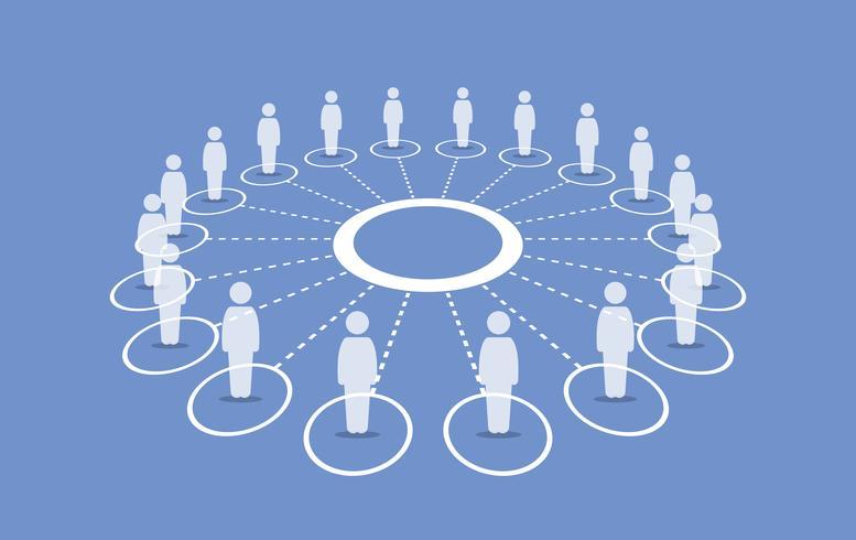 Mensen staan rond een cirkel die met elkaar verbonden is. vector