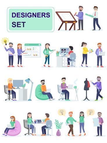 Set van coworking ruimte met creatieve mensen zitten aan de tafel. vector