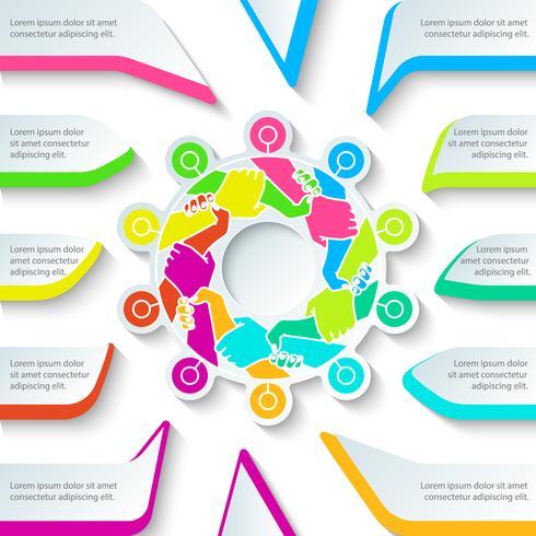 Hand harmonie bedrijf in cirkel vorm, zakelijke infographic. vector