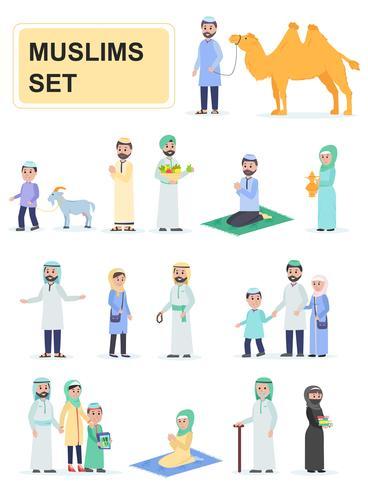 Set van moslims in nationale klederdracht vector