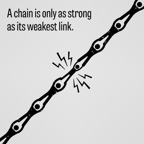 Een ketting is slechts zo sterk als de zwakste schakel. vector