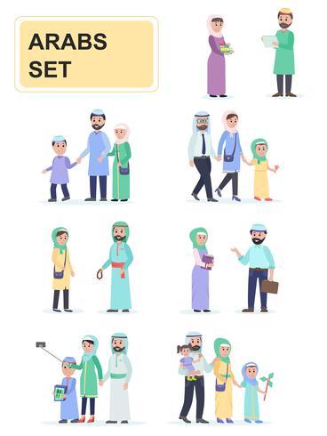 Set van Arabieren in nationale klederdracht vector
