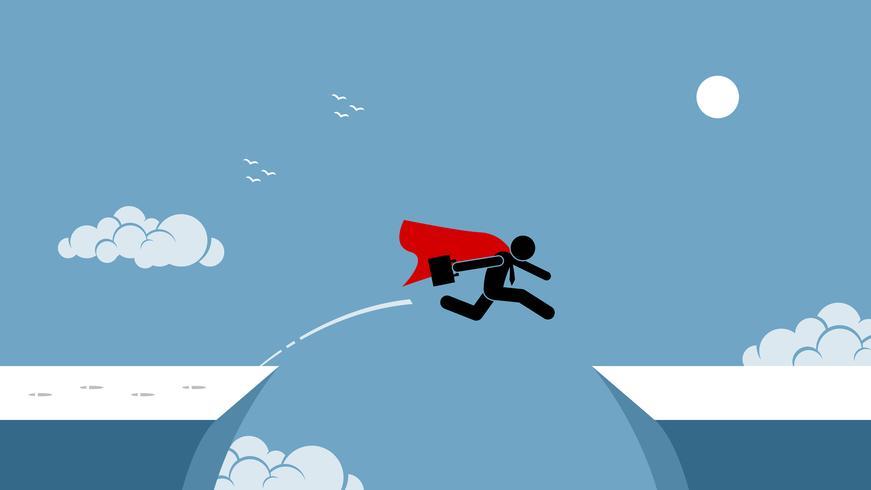 Zakenman met rode kaap die risico neemt door over een kloof te springen. vector