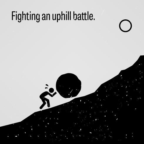 Vechten tegen een heuveloptocht. vector