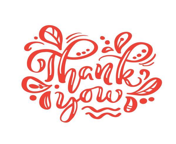Dank u rode kalligrafie die vectortekst van letters voorzien. Voor kunstsjabloon ontwerp lijstpagina, mockup brochure stijl, banner idee omslag, boekje print flyer, poster vector