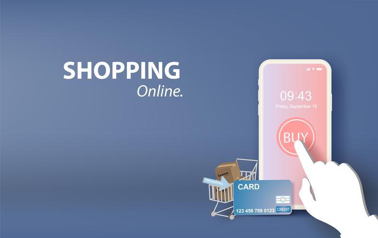 illustratie van online winkelen op mobiele applicatie vector