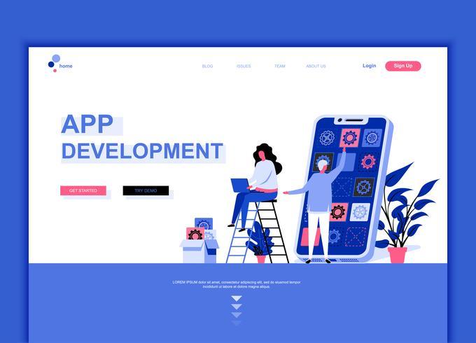Moderne platte webpagina ontwerpsjabloon concept van app-ontwikkeling vector
