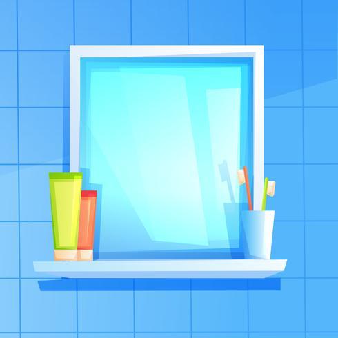 Spiegel met een plank waarop een glas, tandpasta en borstel vector