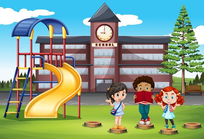 Kinderen staan voor school vector