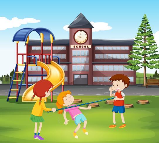 Kinderen die met bar in de speelplaats spelen vector