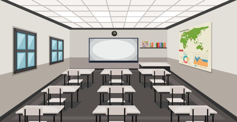 Interieur van een klaslokaal vector