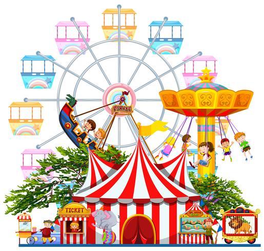 Pretpark scene met vele attracties vector