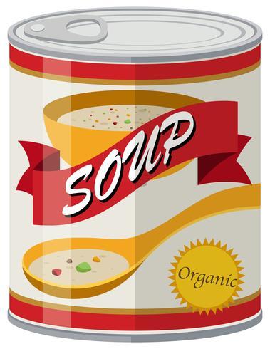 Organische soep in aluminiumblik vector