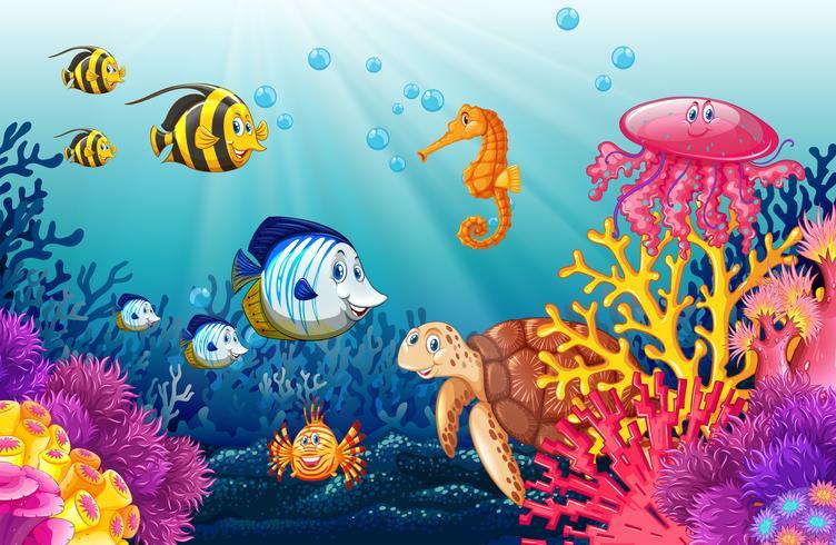 Scène met levens onder water vector