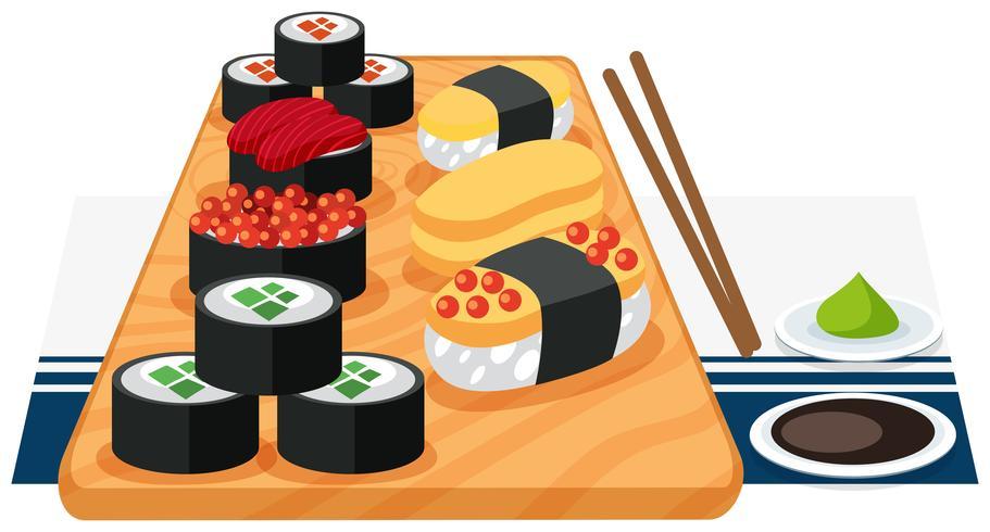 Een reeks sushi op plaat vector