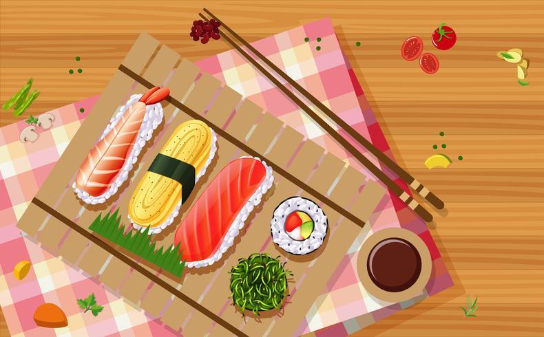 Luchtfoto van sushi vector