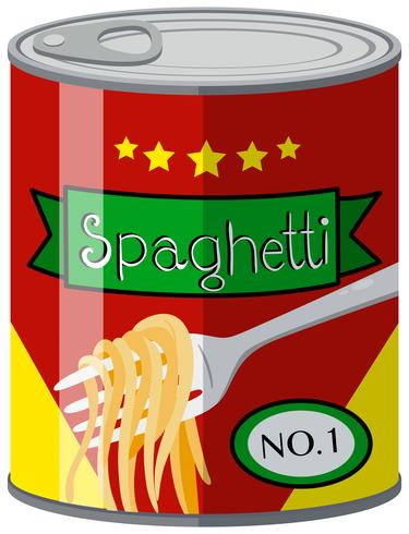 Ingeblikt voedsel met spaghetti vector