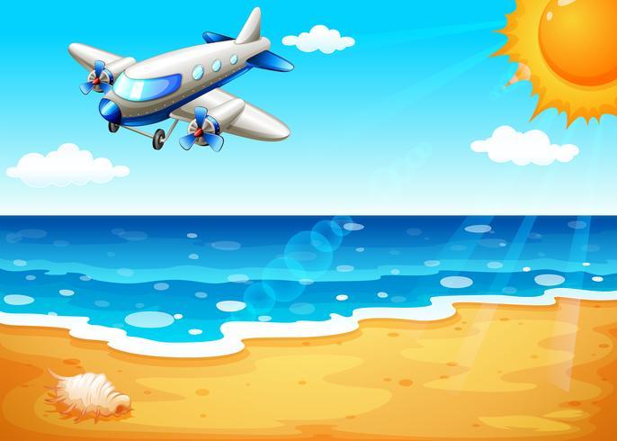 Een vliegtuig op het strand vector