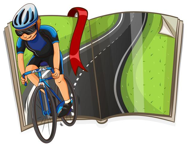 Boek met fietser die op de weg rijdt vector