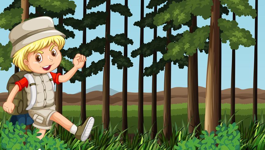 Jongen die in het hout wandelt vector