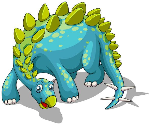Blauwe dinosaurus met spikesstaart vector