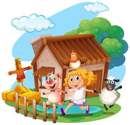 Meisje en landbouwhuisdieren thuis vector