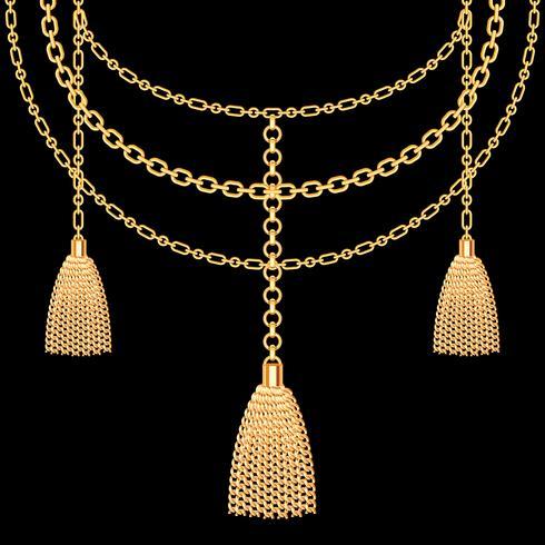 Achtergrond met gouden metalen ketting. Kwasten en kettingen. Op zwart. Vector illustratie