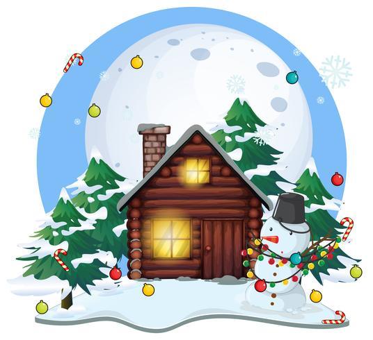 Houten huisje en sneeuwpop op Kerstmis vector