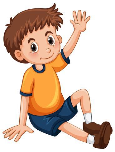 Kleine jongen met een arm voor vragen vector