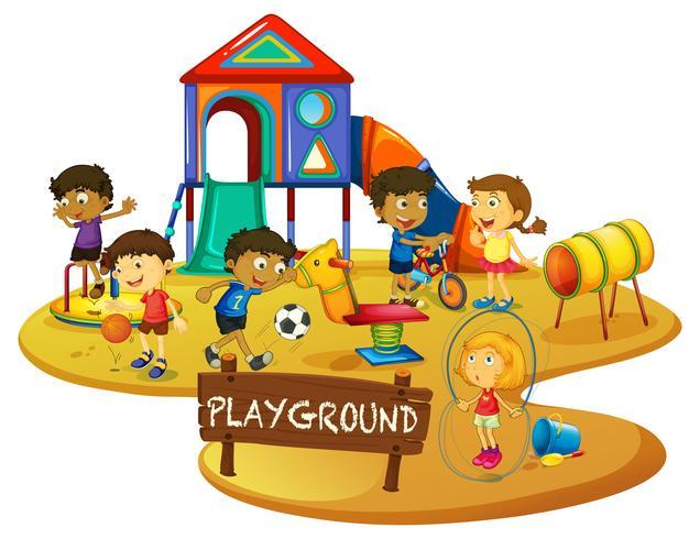 Gelukkige kinderen spelen in de speeltuin vector