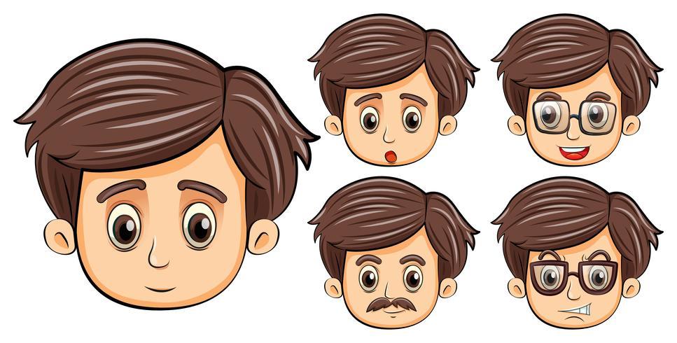 Mannen met verschillende gezichtsuitdrukkingen vector