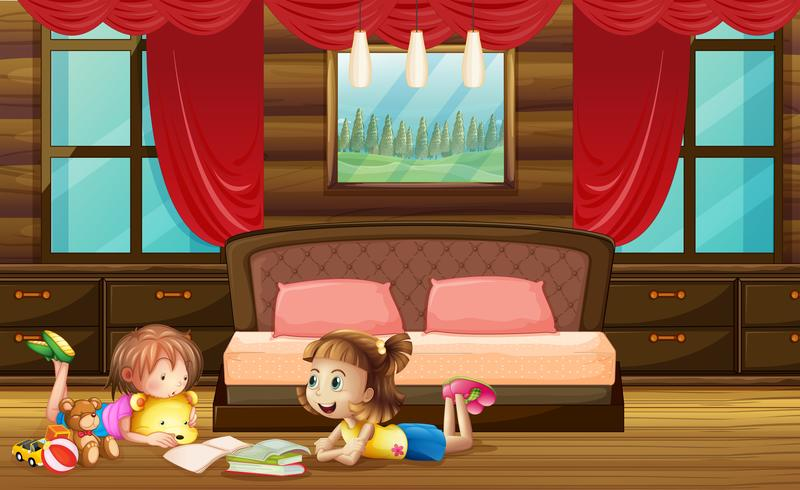 Scène met twee meisjes in de slaapkamer vector