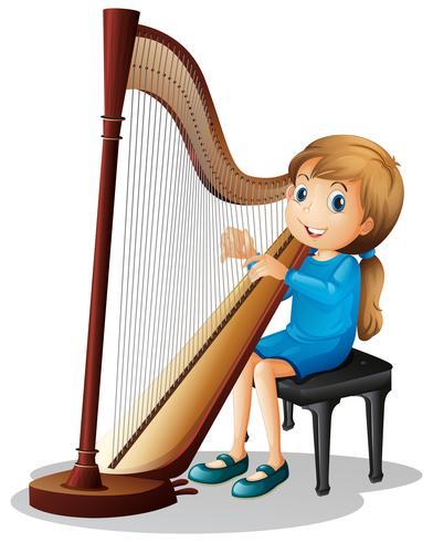 Meisje harp spelen vector