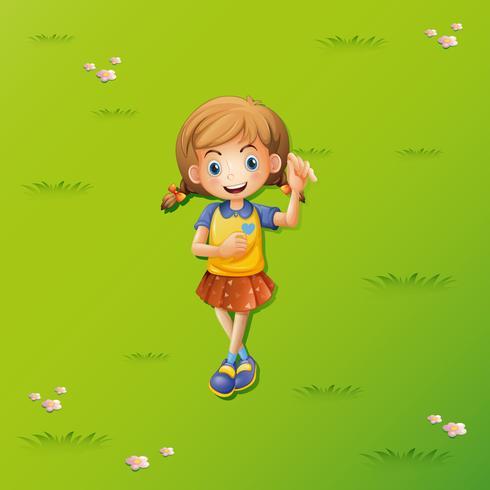 Meisje dat op het gras ligt vector