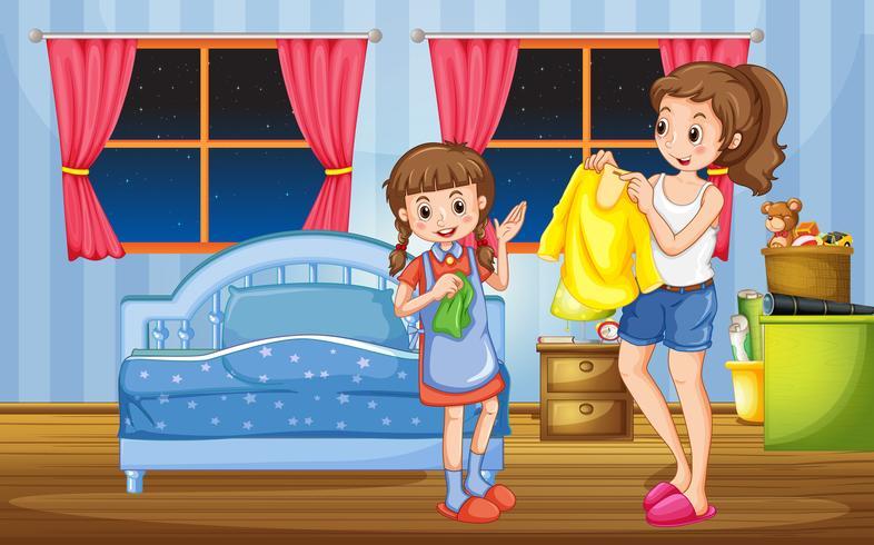 Meisje en moeder in de slaapkamer vector