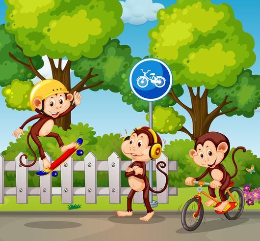 Een groep van apen en extreme sporten vector