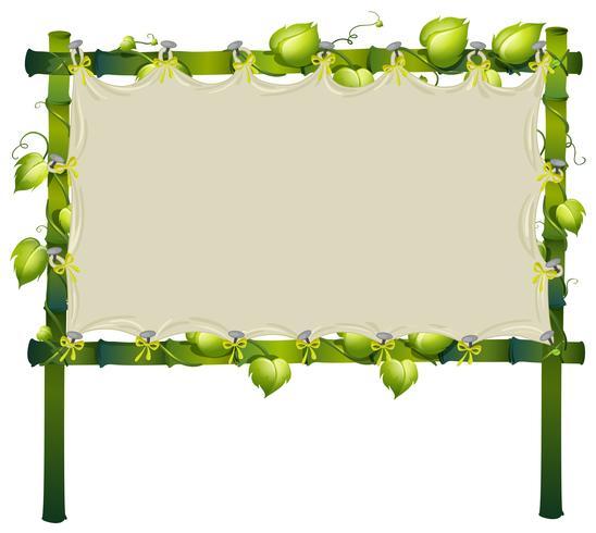 Frame gemaakt van bamboe met witte doek vector